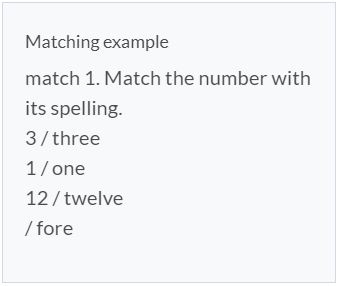 Matching Question Example