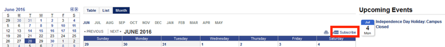 A screenshot of the campus wide calendar with the Subscribe button highlighted