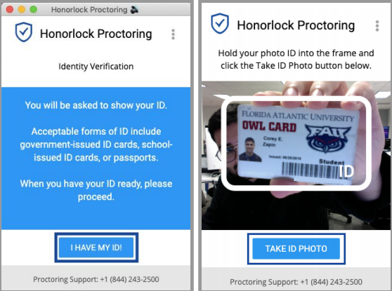Screenshot of the process of taking a photo of a student ID for Honorlock.