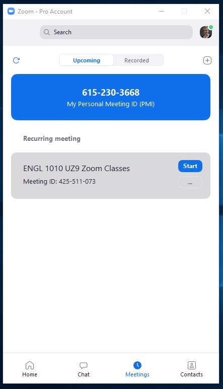 screen shot of the upcoming Zoom meetings