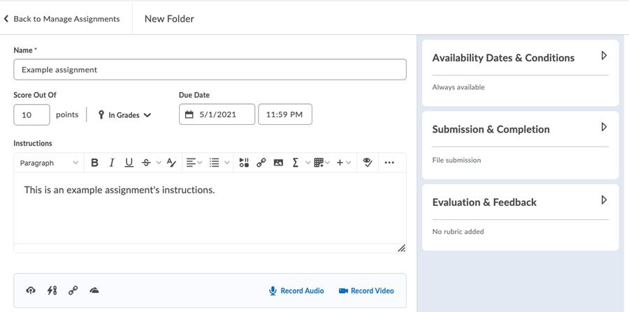 Screenshot of the new Dropbox assignment creation layout