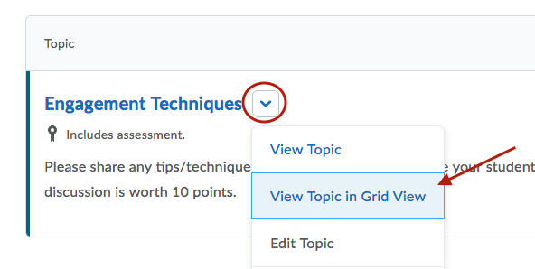 Choosing gridview to display in discussions