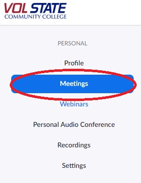 Vol State Zoom Meetings Tab
