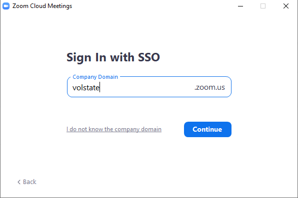 Sign in with SSO page