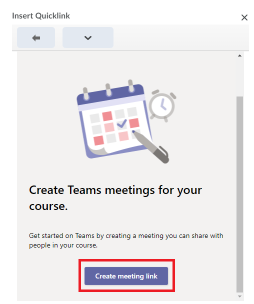 Screenshot of the Teams Quicklink with the Create meeting link button highlighted