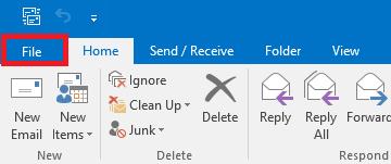 Outlook File tab