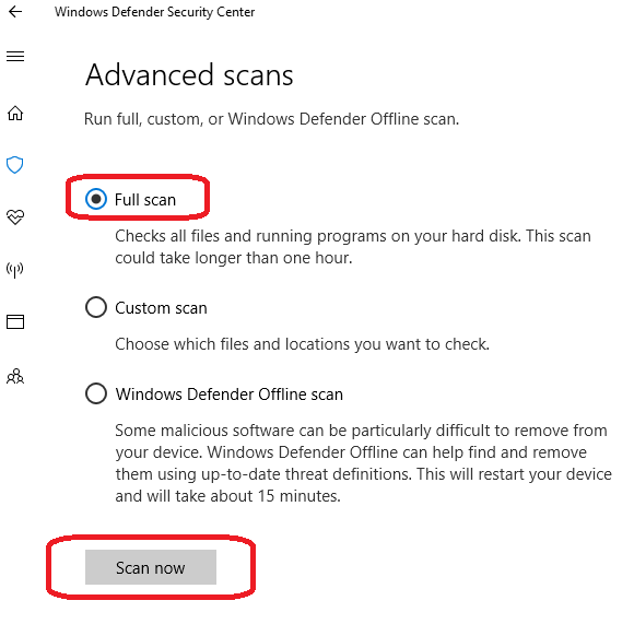 Windows Defender - Advanced scans - Dialog Box