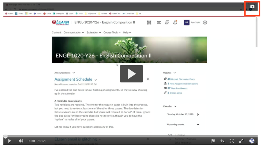 Screenshot of an example video with the Download button highlighted.