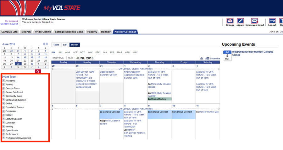 A screenshot of the campus wide calendar highlighting the Event Types list on the left-hand side.