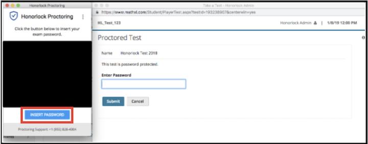 Screenshot of the Honorlock third-party password enter box.