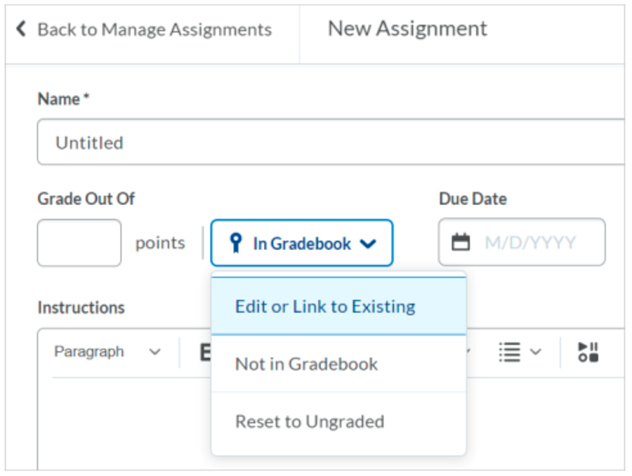 In Gradebook options when creating a new assignment