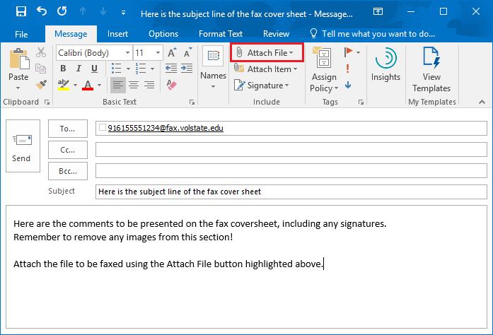 Outlook - Sending a fax via email example screenshot