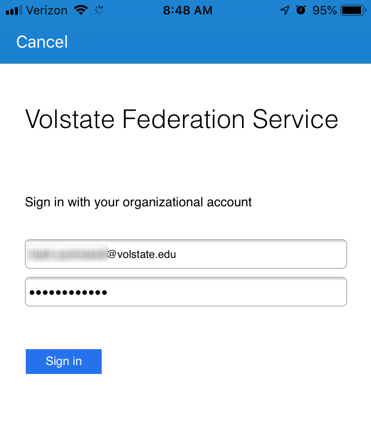Volstate Federation Service sign-in