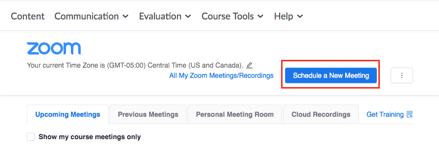 A screenshot of the Zoom Meeting page with the Schedule a New Meeting button highlighted with a red rectangle around it.