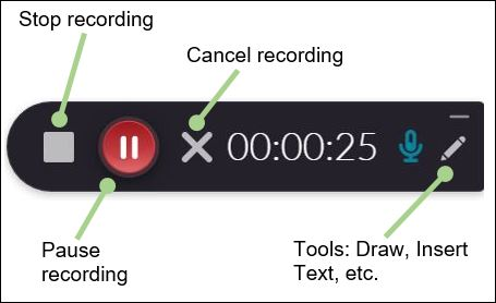 Recording tool with function buttons labeled
