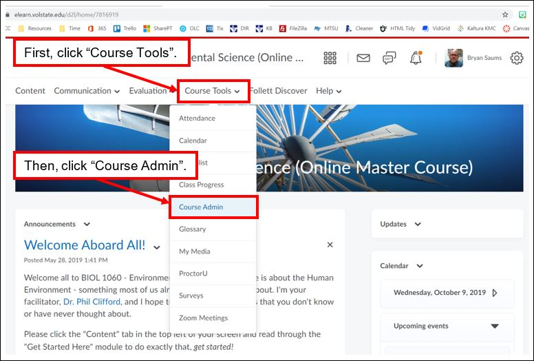 Screen shot of an eLearn course home page with illustration of how to find the course admin tools menu