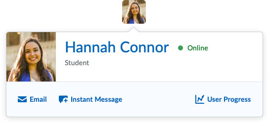 Screenshot of a learner's name and links.