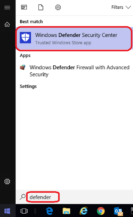 Windows Defender - Search dialog box