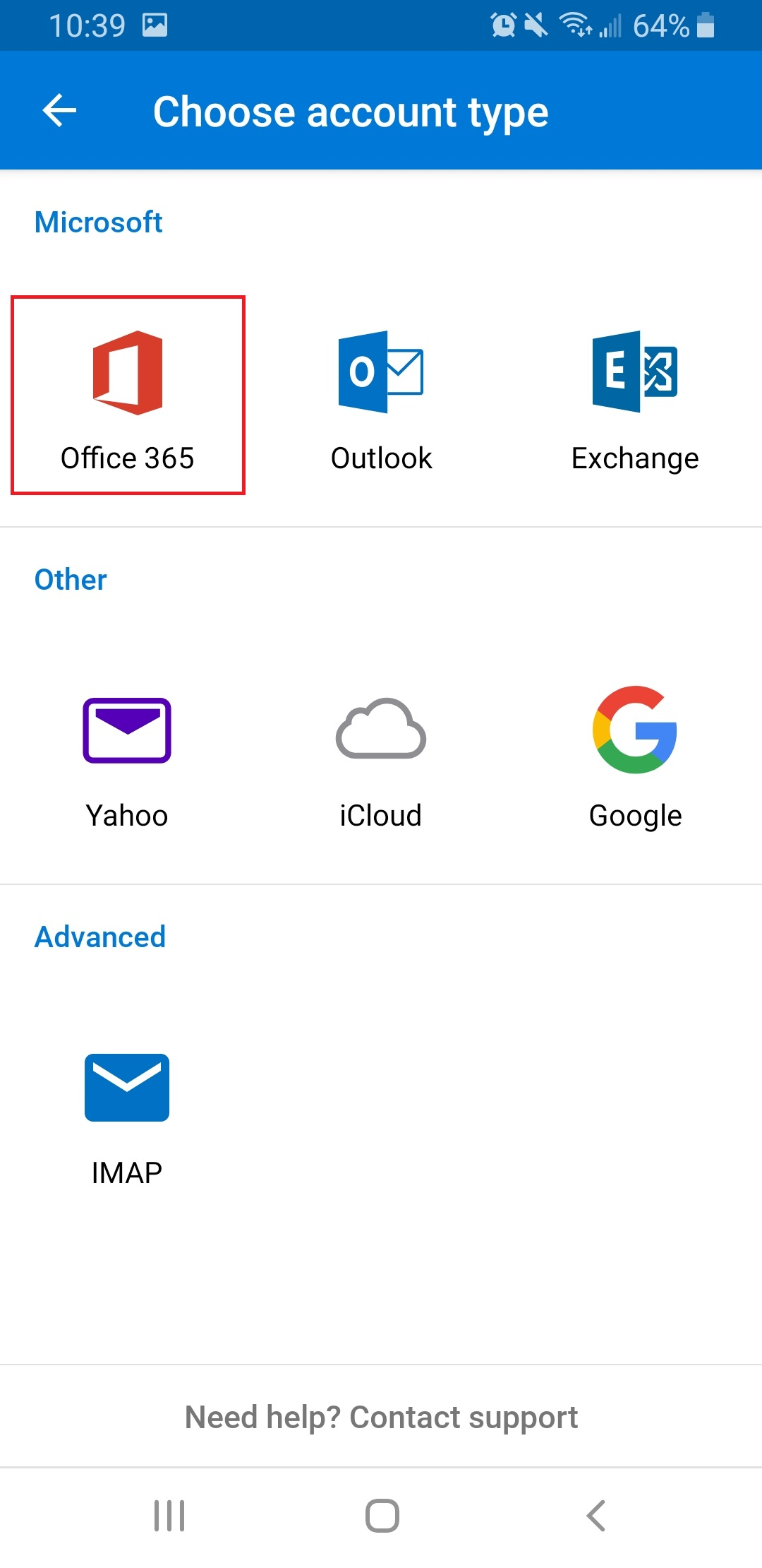 Outlook Android choose account type