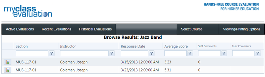 An example of viewing the results of an individual evaluation including the response date and average score.