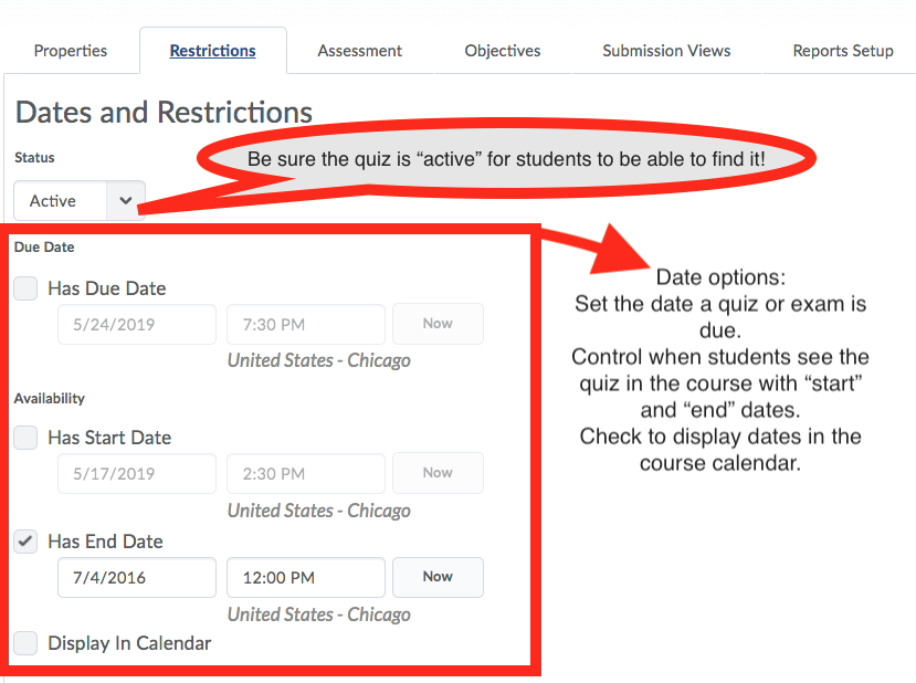 screenshot of quiz restrictions with highlights explained in text below image