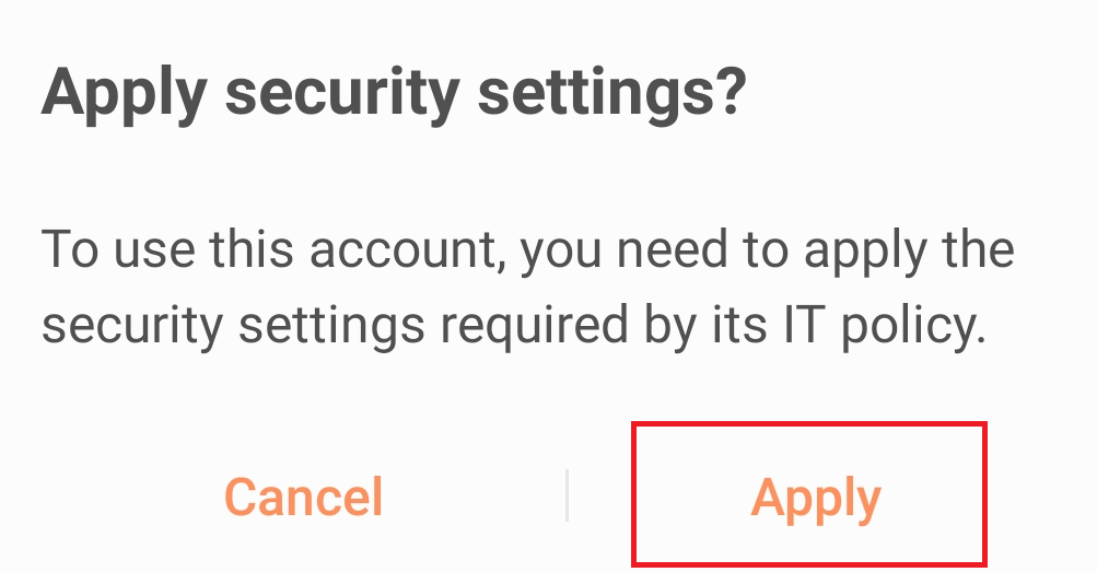 Android apply security settings