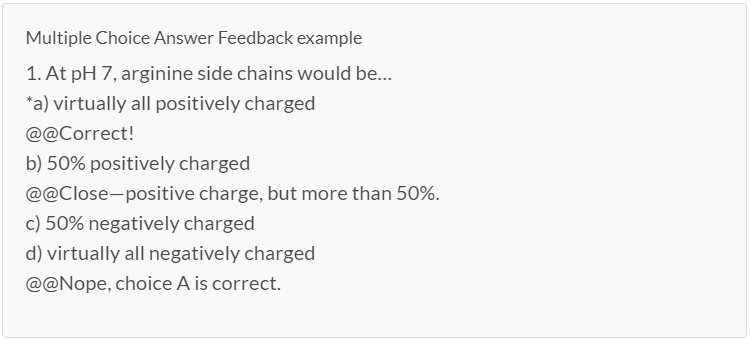 Multiple Choice Feedback Example