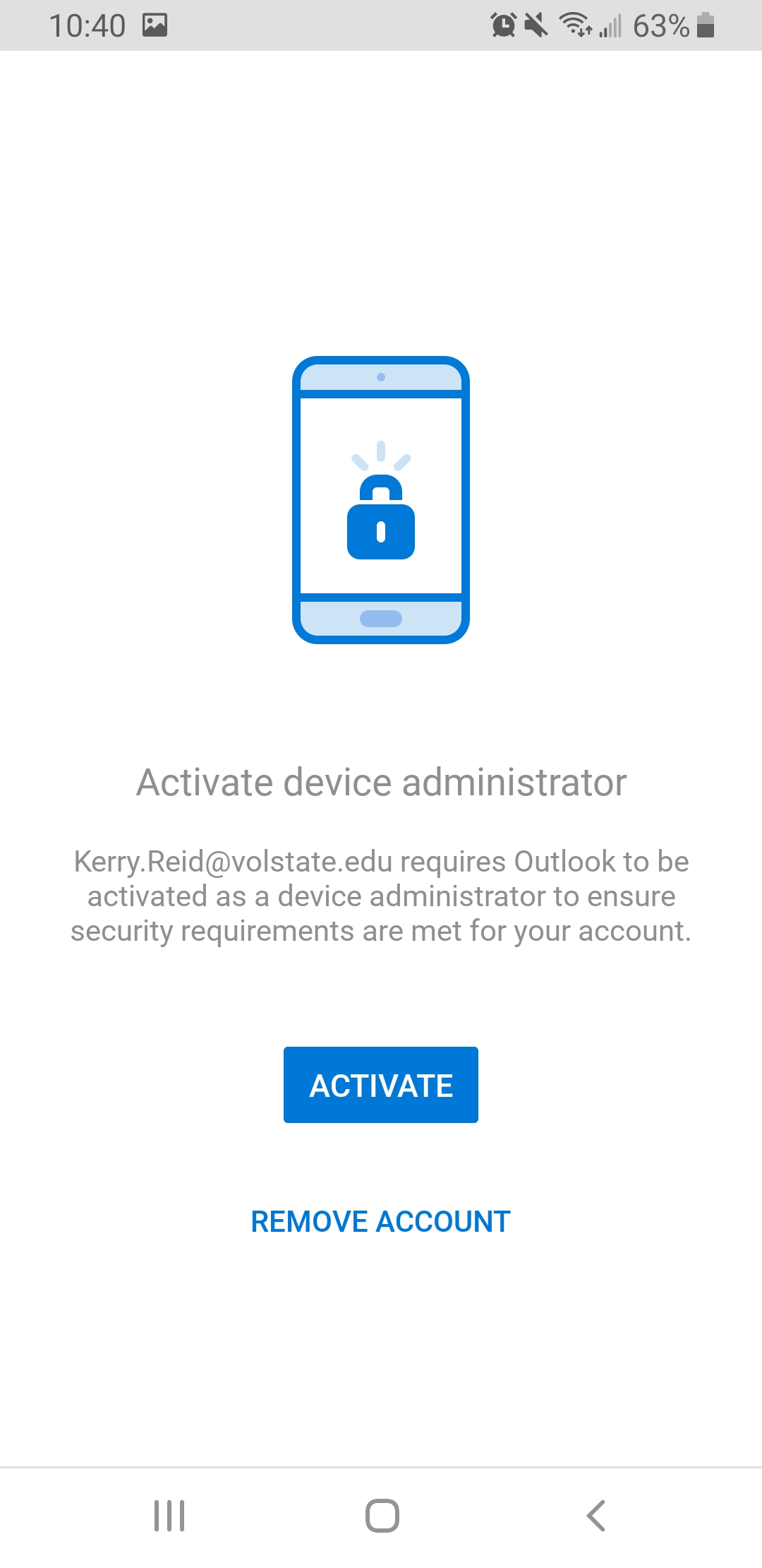 Outlook Android activate device administrator
