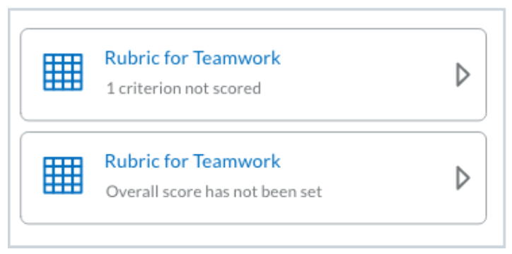 Previous experience collapsed tile for partially scored text-only rubrics