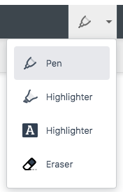 Screenshot of Pen and Highlighter Writing Tools Opened with Drop-down Arrow