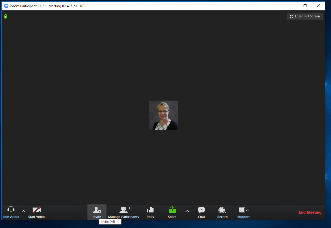 screen shot of a live zoom meeting in progress and the invite icon