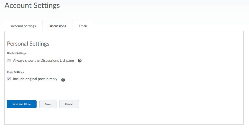 Screenshot of Discussion Settings.