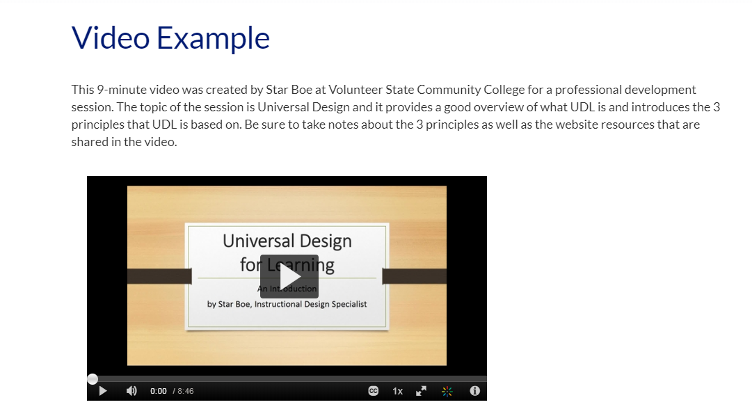 Screenshot of introductory text and an embedded video.