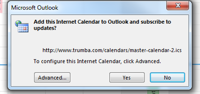 Screenshot of the Add this Internet Calendar to Outlook pop-up box