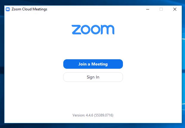 Screenshot of the Zoom sign in desk top application