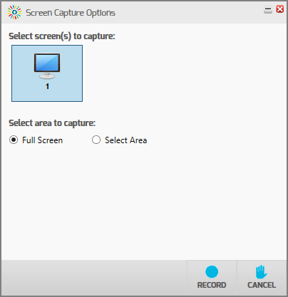screenshot of screen capture options and record button