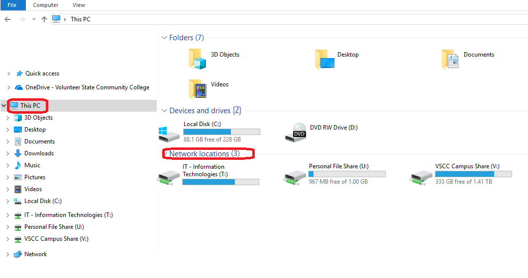 File Explorer showing network drives