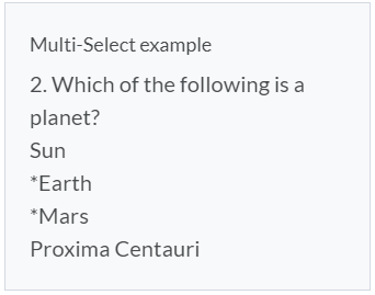 Multi-Select Question Example