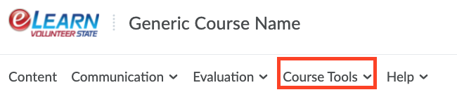 Screenshot of the Course Tools menu within an eLearn course.