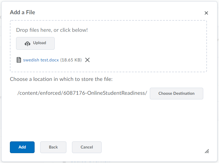 Screenshot of add a file