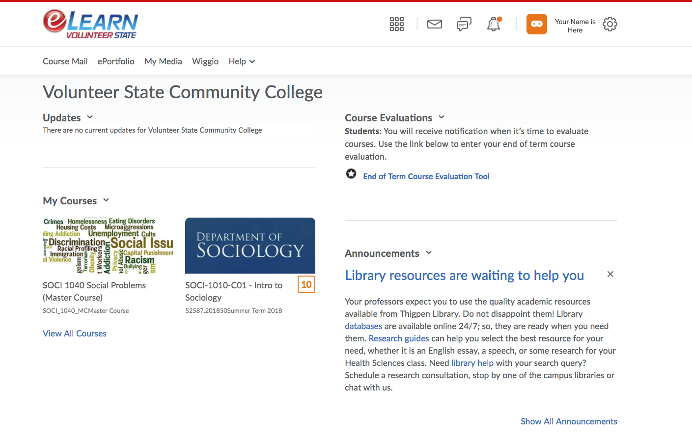 example screenshot of a faculty home page in eLearn
