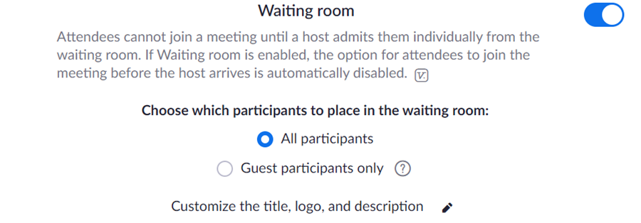 Configuring Zoom Waiting Room