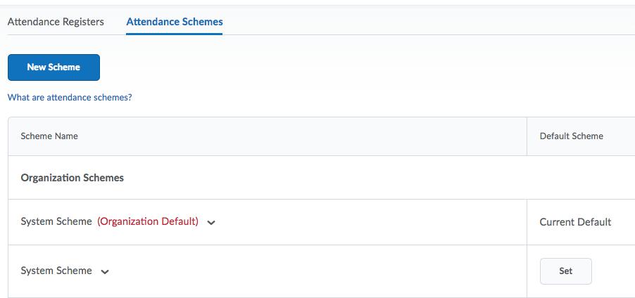 screen shot of the attendance scheme menu