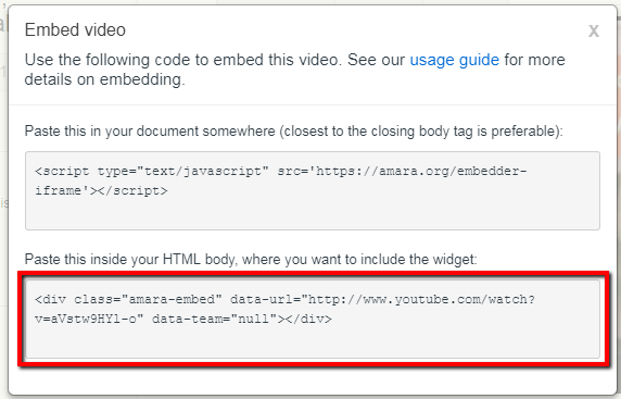 HTML body embed code in Amara.