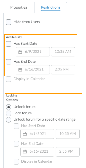 The previous options for visibility and posting restrictions in the Restrictions tab