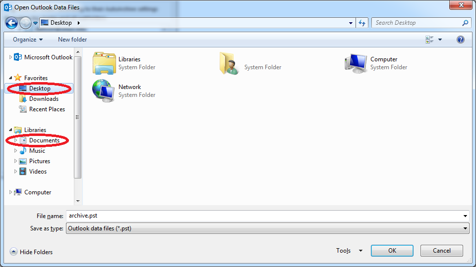 Screenshot of Outlook properties
