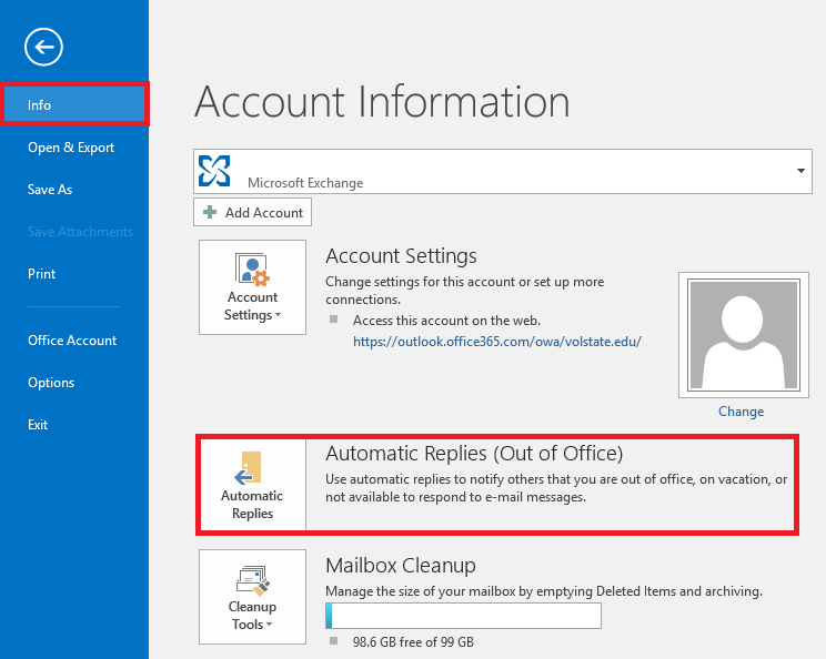 Outlook Info - Automatic Replies