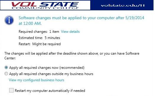 Screenshot of Software Center - Options Dialog Box