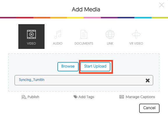 Screenshot of the Add Media page with Start Upload highlighted.