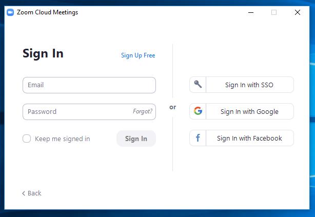 screen shot of the Zoom desktop app sign in options